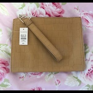 Nude leather embossed wristlet